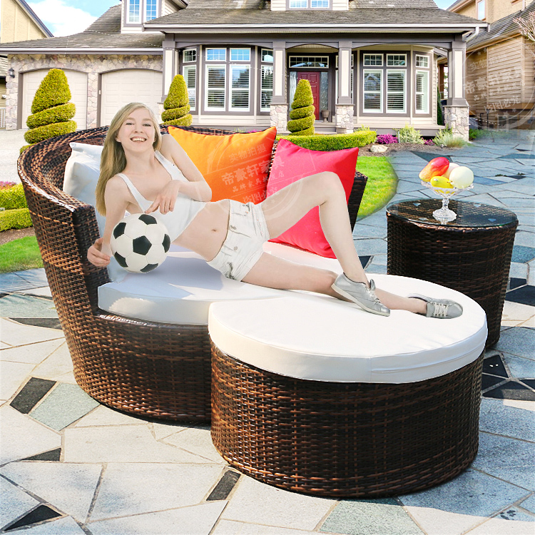 Outdoor furniture lying bed rattan chair three piece round for Poolside table and chairs