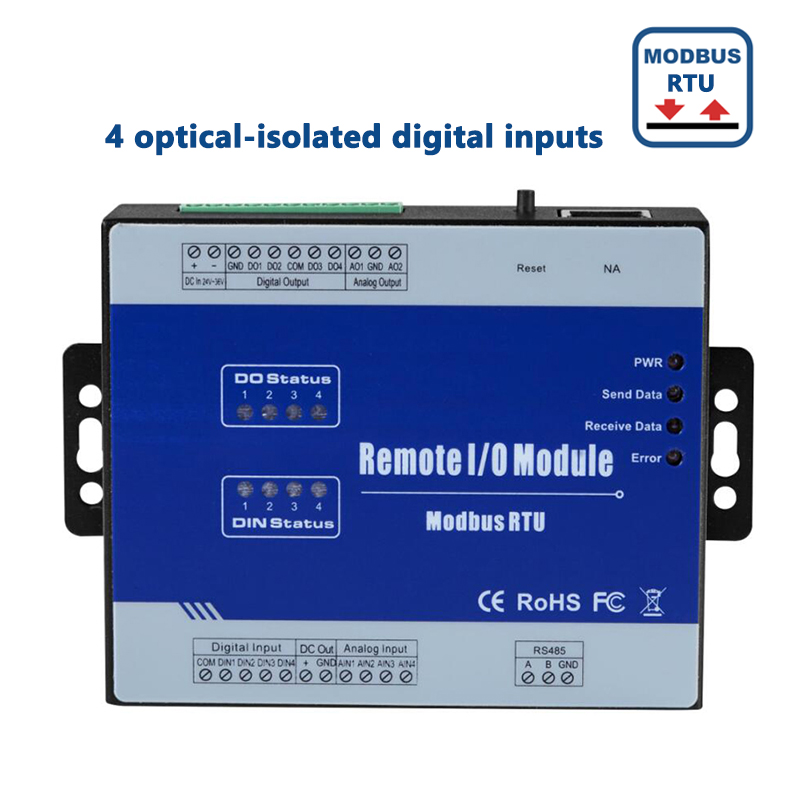все цены на Modbus RTUs and Remote Controller IO Module 4 optical-isolated digital inputs Supports high speed pulse counter M210 онлайн