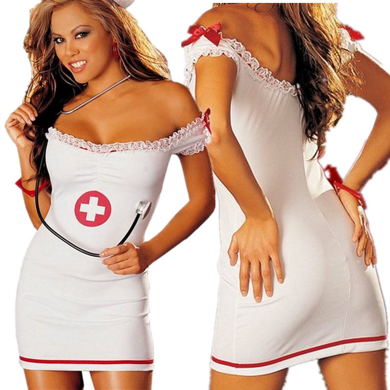 2017 Sexy lingerie Off Shoulder Womens Sexy Nurse Erotic Costume doctor uniform Halloween Party Dress