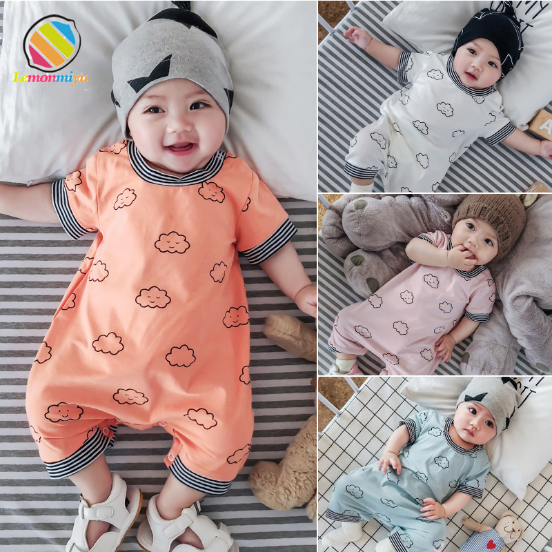Lemonmiyu Summer Baby One-Piece Cotton Short Baby   Rompers   Print Jumpsuit Short Sleeve Toddler Buttons Coveralls Cartoon Outfit