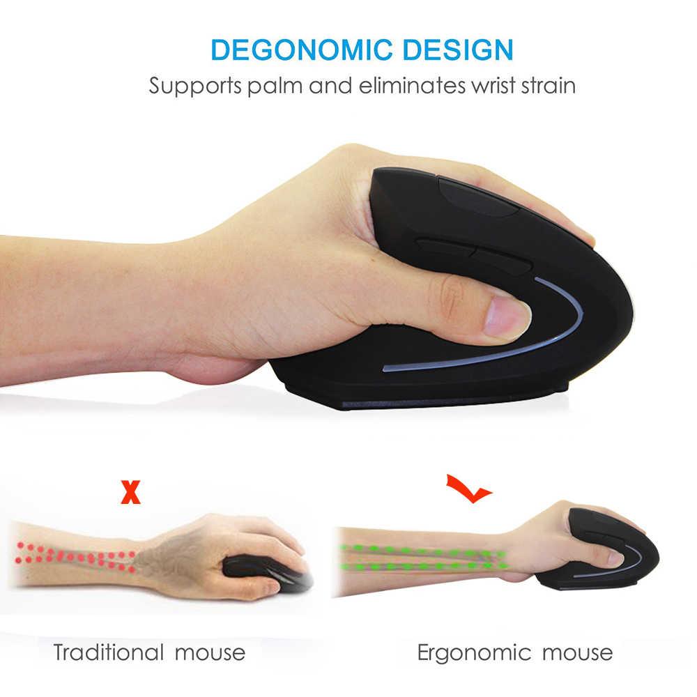 Souris sans fil souris verticale ergonomique 5D 1600 DPI LED coloré souris de jeu d'ordinateur Mause avec Kit de tapis de souris pour ordinateur portable PC
