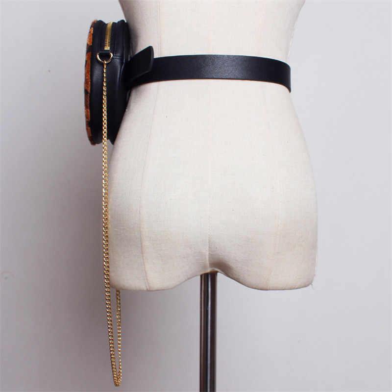 Mihaivina Leopard Saco Da Cintura Pacote de Cintura Moda Rodada Do Vintage Sacos de Ombro do Sexo Feminino Livre Mão Chian Belt Bloco de Fanny Atacado