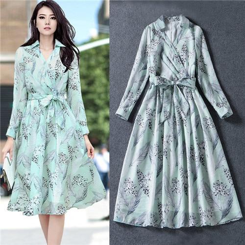 Lgith Green Feather Print Midi Dress Korea Yarn Turndown Collar V