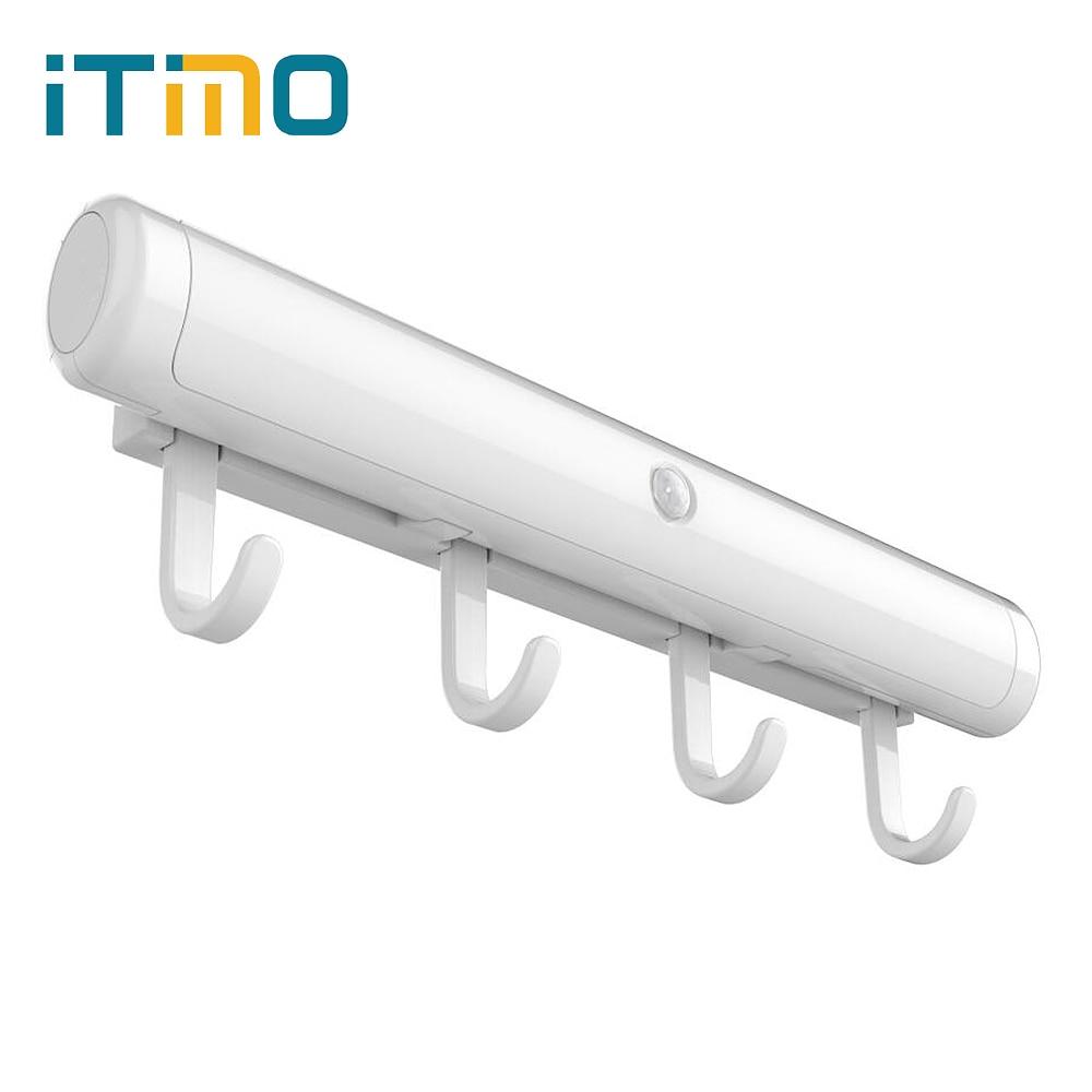 ITimo Home Беспроводной ночной световой бар Датчик движения Коридор Кабинет Лампа Вращающиеся светодиодные настенные светильники Полосы Светодиодные полосы света