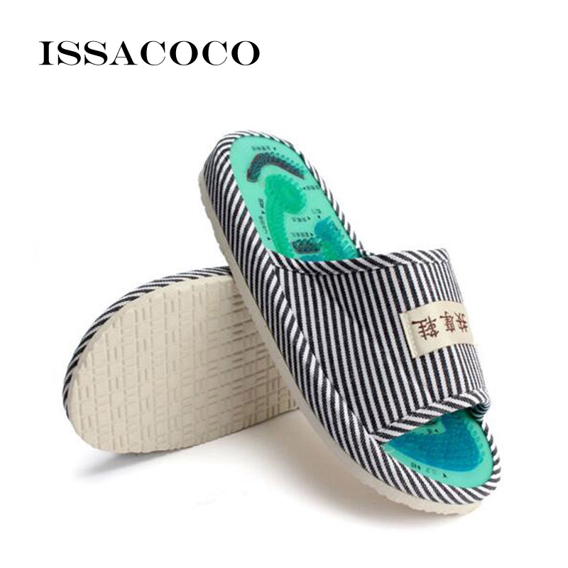ISSACOCO Men Slippers Men 39 s Blue Stripe Health Care Taichi Acupuncture Foot Massage Slippers with Magnet Men 39 s Massage Slippers in Slippers from Shoes