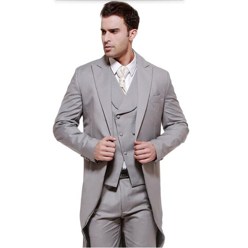 Mens suits Gray swallow tailed coat high quality men suit elegant ... 4dac534cadf9