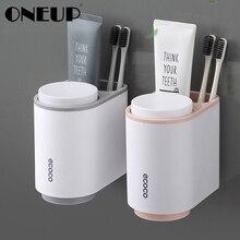 ONEUP магнитный держатель для зубных щеток с 2 чашками, настенный держатель для зубной пасты, полка для бритвы, набор аксессуаров для дома и ванной комнаты