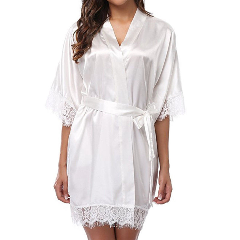 Short Satin Bride Robe Sexy Wedding Dressing Gown Lace Silk Kimono Bathrobe Summer Bridesmaid Women Nightwear