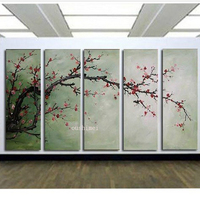 Handpainted 5 P Modern Decorative Oil Painting On Canvas Pictures Wall Art Cherry Blossom For Living Room Unique Painting Gift