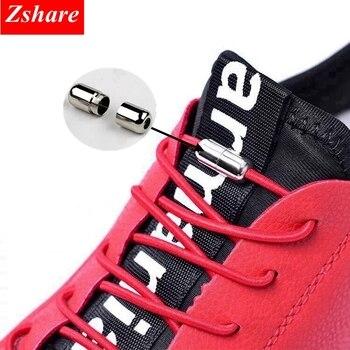 Lacets de chaussure de verrouillage élastique de mode pas de lacets de cravate nouvelle simplicité ronde pointe en métal lacet loisirs lacets de chaussures de Sport rapides unisexe