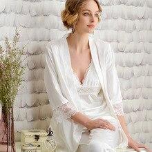 2019 New Fashion Sexy Lace Silk Satin Sets 3 Piece Women Pajama Sets Women's Sleepwear Silk Satin Pajama Sets lady Homewear