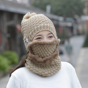 Women Knitted Hat Scarf Two Pieces Set Fashion Wool Knit Hat Collars Female Warm Snow Caps Windstoper Face Mask Hat Set wool hat w mask yellow grey