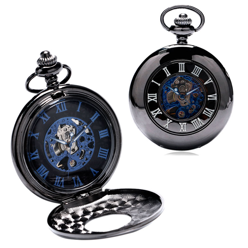 Luxury Skeleton Dial Roman Number Mechanical Hand Wind Pocket Watch Men Women Gift FOB Watches Male new black skeleton five star luxury hot stylish retro cool crown pattern hand wind mechanical pocket watch supernatural gift