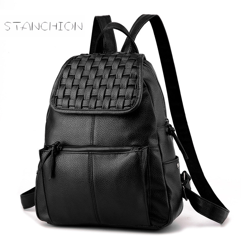 Women Backpack Faux Leather Zipper Solid Vintage Soft Portable Multifunctional Daily Fashion Shoulder Travel For Teenagers