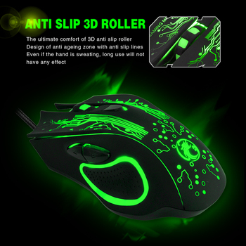 Wired USB Silent Gaming Mouse 5000 DPI 6 Button Ergonomic Magic Video Gamer Mice for Laptop - X9 3