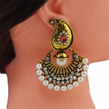 99e2e256890e Vintage afgano oro hindú pendiente grande flor perla Cachemira pendientes  Indio Gitano étnico Kundan declaración pendientes Boho turco