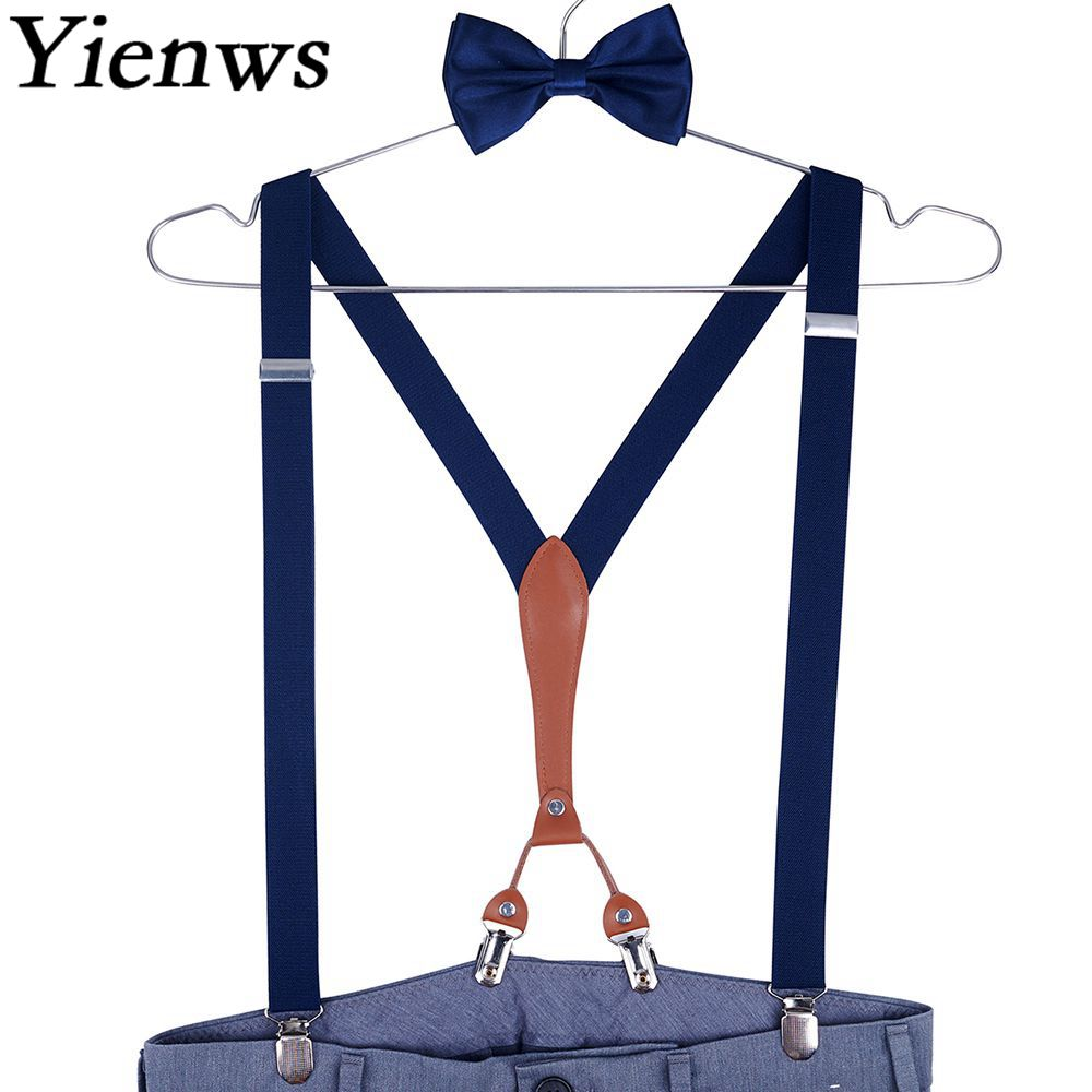 Yienws Suspenders Mens Braces Navy Bow Tie And Suspenders Man For Pants 4 Clip Trouser Strap Suspenders Male Wedding YiA132