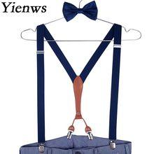 Yienws szelki męskie szelki granatowy łuk krawat i szelki szelki na spodnie 4 klips pasek do spodni szelki męskie ślubne YiA132 tanie tanio Poliester 115cm Moda bretelles pantalon pour homme Stałe Dla dorosłych