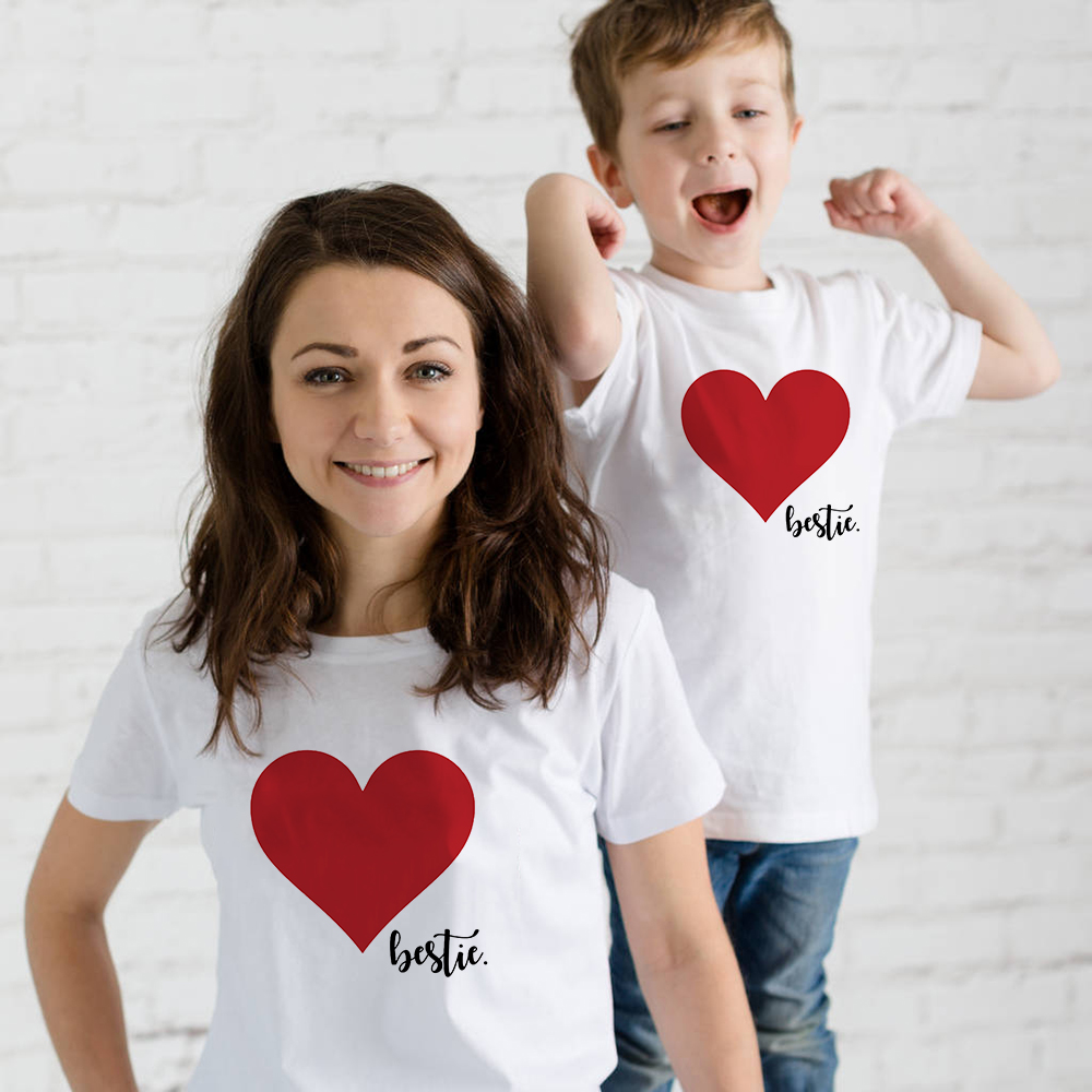 1pcsBesties Heart Family Matching Shirt Family Clothes Summer Short Sleeve Casual T Shirt  Mother And Daughter Son Tee Shirt