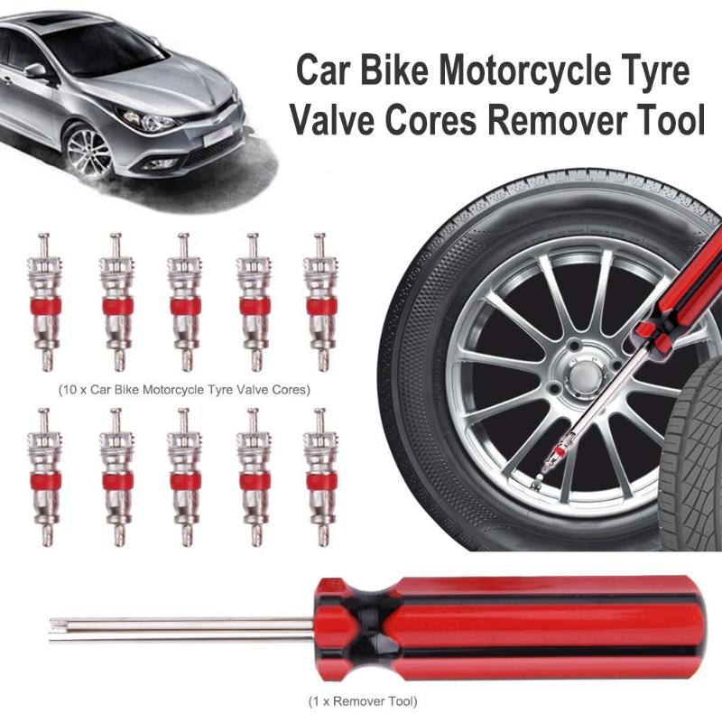 10 pcs Núcleos de Válvula do Pneu do pneumático w/Removedor de Reparação de Pneus Ferramenta + Chave para Schrader Bicicleta Carro Roda Da Motocicleta ferramenta de Limpeza De pneus