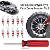 10 piezas de la válvula de neumático núcleos w/removedor de reparación de neumáticos herramienta + llave inglesa para Schrader DE LA BICI del coche de la rueda de la motocicleta neumático de herramienta de limpieza
