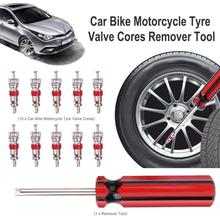 10pcs Tyre Tire Valve Cores w/ Remover Tire Repair Tool +Wrench for Schrader Car Bike Motorcycle Wheel Tire Cleaning Tool цена в Москве и Питере