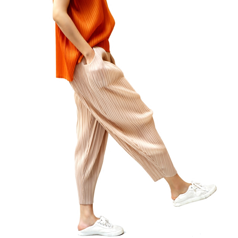 Changpleat 2018 Printemps Femmes harem pantalon Miyak Plissée conception Originale taille élastique Solide couleur lâche Femelle Pantalon De Mode Marée