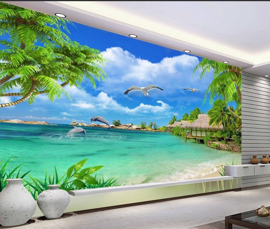 Modern 3d wallpaper landscape photo Palm Murals nature vinyl sticker roll tv backdrop brick walpaper