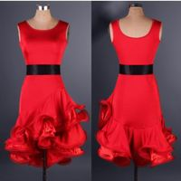 4 kleuren rood zwart volwassen concurrentie latin dance dress vrouwen ballroom samba rokken dansen latin hot kostuum dance latin dress