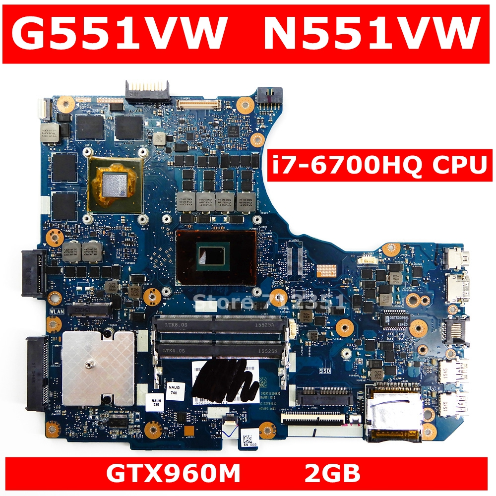G551VW <font><b>i7</b></font>-<font><b>6700HQ</b></font> CPU GTX960M 2GB Mainboar For Asus N551V G551V FX551V G551VW FX51VW N551VW FX51VW Laptop Motherboard 100% Tested image