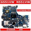 G551VW i7-6700HQ процессор GTX960M 2 Гб Mainboar для Asus N551V G551V FX551V G551VW FX51VW N551VW FX51VW материнская плата для ноутбука 100% протестирована
