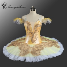 Canary Fairy Professional Ballet Tutu Yellow Gold,Platter Plate Tutu Skirt Performance Classical Ballet Costume For WomenBT9160