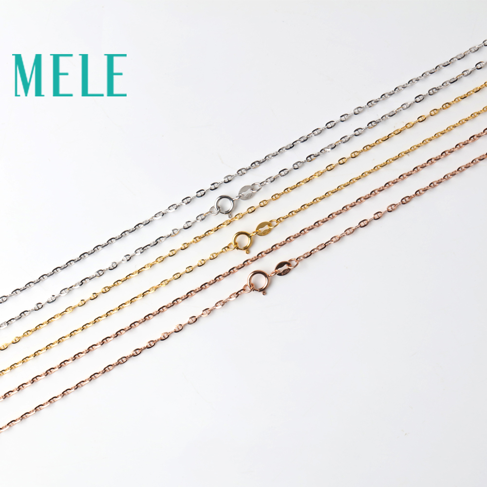 MELE 18k gold chain for pendant and necklace,1mm Plain chain with yellow gold,wihte gold,rosr gold DIY Jewelry accessories цена 2017