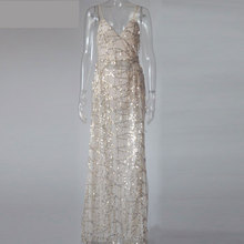 2017 Latest Sexy Women Dress Spaghetti Strap Sequin Maxi Long Dresses High Split Evening Party Elegant Loose Mermaid Dresses