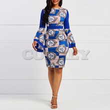 CUERLY 2019 women dress long flare sleeve royal blue party pencil dress autumn color block geometric elegant vintage dress vintage color block long sleeve pin up dress