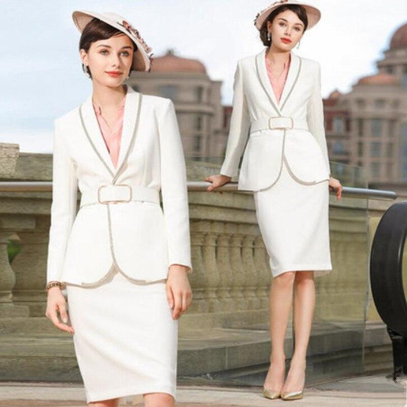 Women Skirt Suits Elegant Office Lady Elegant Blazer Coat Suit Jacket Tops and Skirt Formal Work Wear Two Piece Sets Uniform