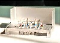 Nowy 16 burs dentystyczne diamentowe polerowanie wysokiej prędkości + 1 dezynfekcji posiadacza blocksteel azotan wierteł z węglika wiertła stomatologii
