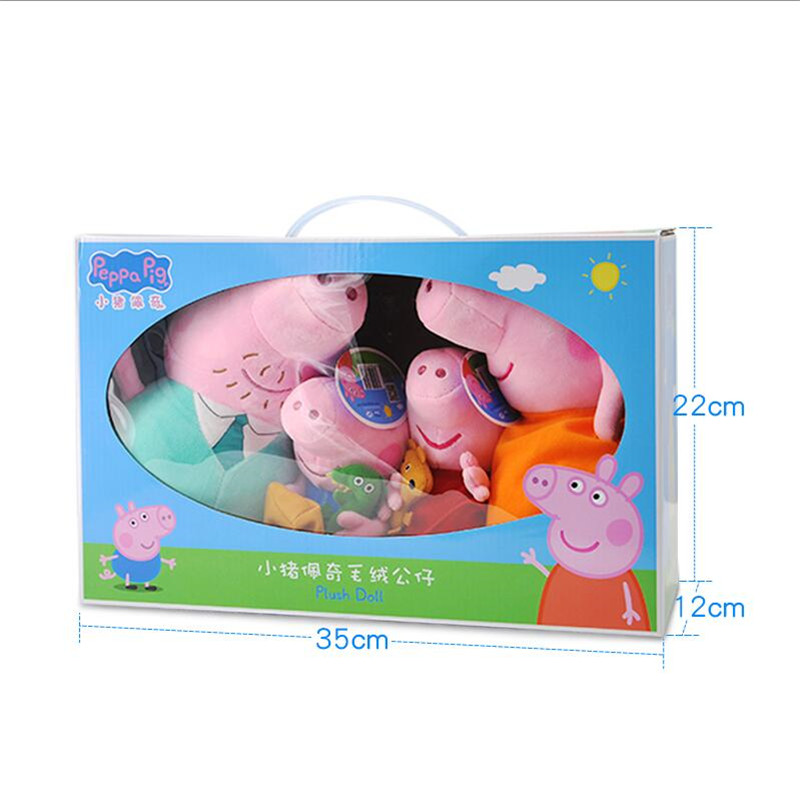 4Pcs set Peppa Pig George Plush Filling Stuffed soft Plush Toy With Keychain Pendant Friend Dolls toy for Children Birthday Gift in Movies TV from Toys Hobbies