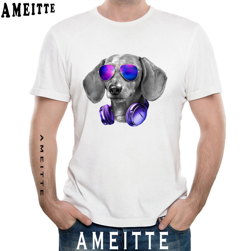 Hipster Cool Italian Spinone Dog with Glasses Print T-Shirt Summer Fashion Men T-shirt Funny Dog Design Boy Casual Tops Man Tees