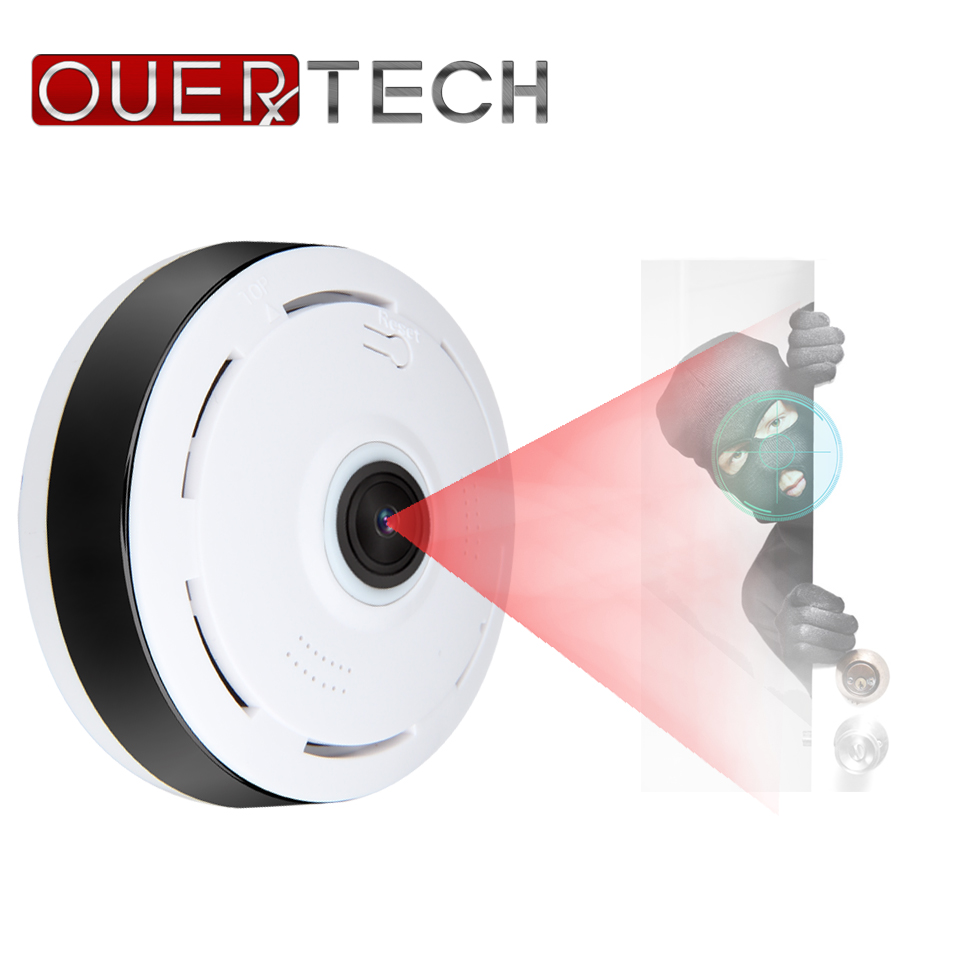 OUERTECH WiFi Security Camera 360 Infrared Night Vision 1080P VR  Motion Sensor Smart IP Camerawith TFcard Slot App V380