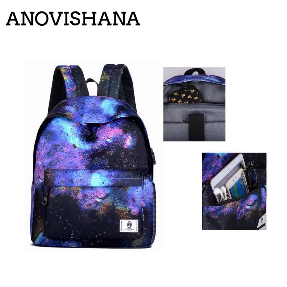 3ffb06deaaf4 ANOVISHANA многоцветный женский мужской холщовый рюкзак стильный Galaxy  Star рюкзак зарядка через usb для девочек Школьный