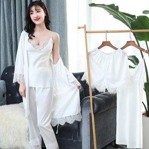 Image 3 - Mechcitiz 2019 Vrouwen Satijn Nachtkleding 5 Stukken Pyjama Set Sexy Kant Bathobe Pyjama Slaap Lounge Pijama Zijde Robe Night Pak