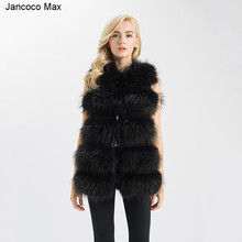 Jancoco Max 2018 Winter Fashion Style Womens Real Raccoon Fur Gilets Top Quality 5 Rows Long Vest New Arrival Coat 1150L