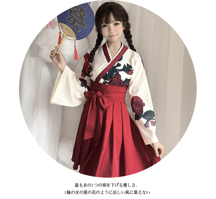 Girls Japanese Style Retro Kimono Floral Long Sleeve Woman Party Dress Summer Fashion Outfits Top Bow Skirt Haori for Female 10