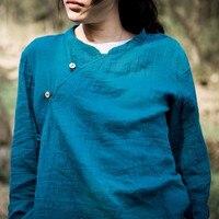 Spring 2015 Product Launches 100 Original Design Cotton And Linen Irregular Woman Shirt Bust Size 98