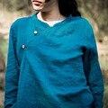 Primavera 2015 lanzamientos de productos, 100% diseño original de algodón y lino irregulares camisa de la mujer ( tamaño del busto : los 98 cm )