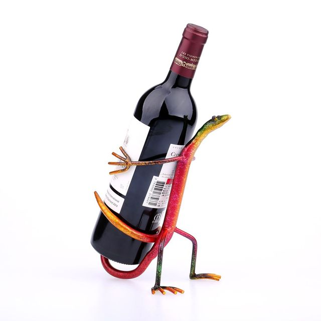 Decorative Wine Bottle Holder Mesmerizing Tooarts Gecko Wine Holder Rack Iron Craft Home Decoration Wine Inspiration