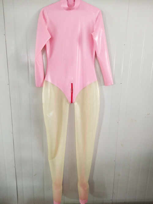 2019 Latex Rubber Catsuit Exercise Tights Suit Catsuit Pink and Transparent Bodysuit Size XXS-XXL