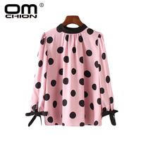 OMCHION O Neck Long Sleeve Sweet Pink Blouse Women Vintage Black Polka Dot Tunic Shirts Casual Summer Tops 2018 Blusas LS299