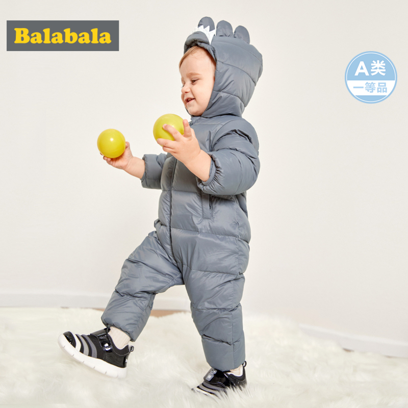 Balabala Infant Baby Girl Boy 3D Dinosaur Puffer Down Snowsuit Hooded Jumpsuit With Slant Pocket Newborn Babys One-Piece Winter